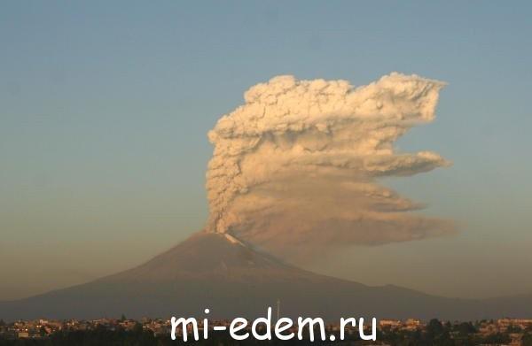 Извержение вулкана в Мексике