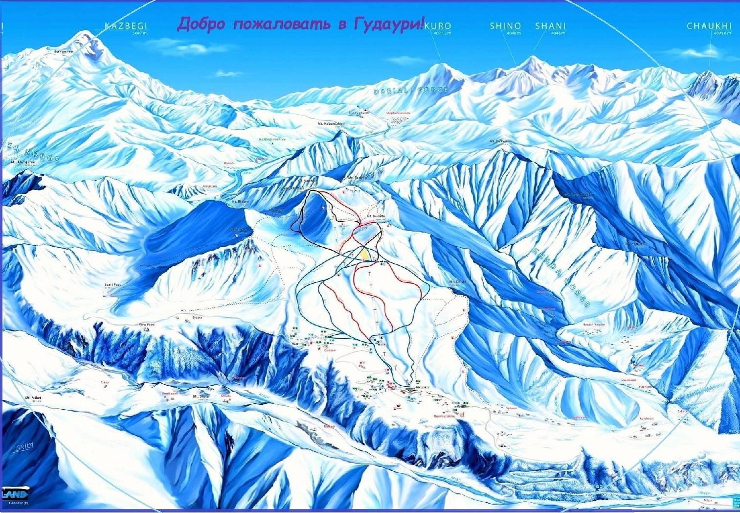 лыжные трассы гудаури